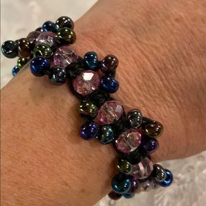 Brand New Purple Macramé Beaded Bracelet
